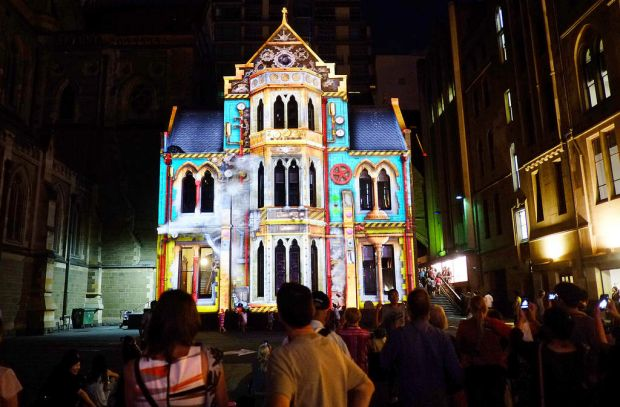 St Paul's Cathedral lights up during the White Night Festival.