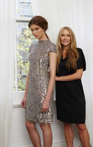 Collette Dinnigan and model wearing a design from Dinnigans upcoming collection.