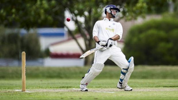 Queanbeyan's Vish Thakur avoids a bouncer against Wests at Freebody Oval.