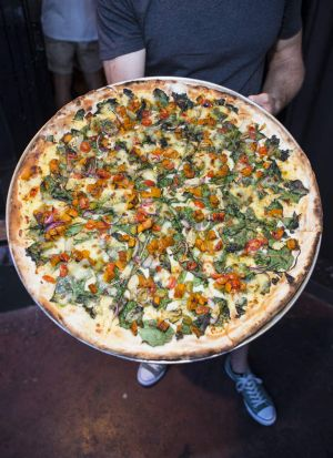 A Vegetarian pizza at the launch of the Showcross pizza restaurant in Brunswick Street.