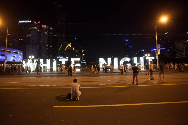 White Night Festival sign in Melbourne.