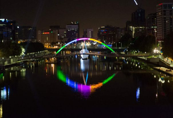 Yarra river lights during the White Night Festival in Melbourne.