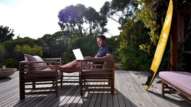 Two days a week ad man Ben Day works from his home at Jan Juc.