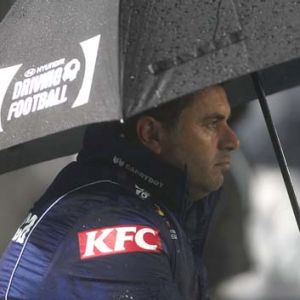 Ange Postecoglou watches the game against the Central Coast Mariners.