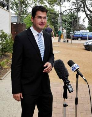 Zed Seselja after voting was completed for the the Liberal Preselection held at the Eastlake Football Club in Griffith.