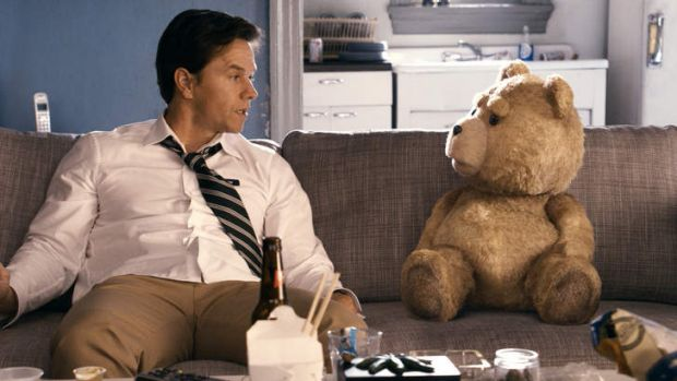 Mark Wahlberg and co-star 'Ted ' the teddy bear (voiced by Seth MacFarlane).