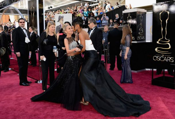 HOLLYWOOD, CA - FEBRUARY 24:  Actress-singer Kristin Chenoweth (L) and singer Kelly Rowland attend the Oscars at ...