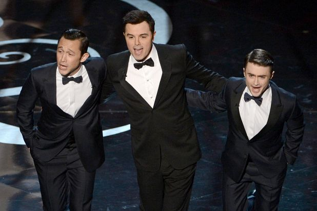 All-star trio: Joseph Gordon-Levitt, Seth MacFarlane and Daniel Radcliffe.