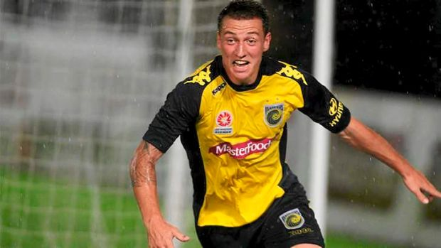 Mitchell Duke of the Mariners celebrates a goal during the Central Coasts' 6-2 thrashing of the Melbourne Victory.