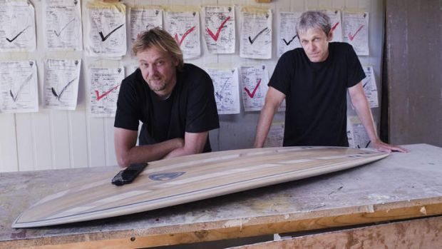 From ticks to clicks... Josh Dowling, surfboard craftsman (left) with Stephen Franklin, digital producer, Trumpet Digital.