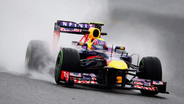 Mark Webber tests his new Red Bull car at the Circuit de Catalunya on February 22.
