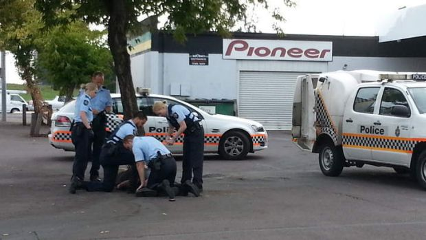 A man was arrested by police on Pirie Street this morning.