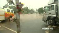 A flooded intersection in Toowoomba