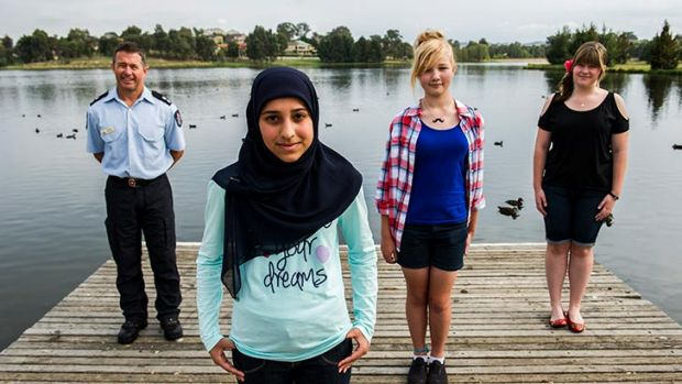 Neil Maher, Zartash Sarwar, Emily de Gier, and Tessa Elight at the Gungahlin Yerrabi ponds, near where Zartash was ...
