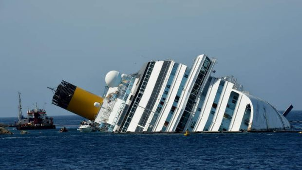 Ran aground ... The cruise liner Costa Concordia, which capsized in January 2012.
