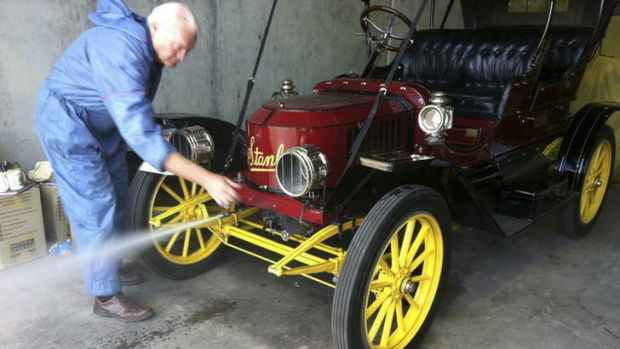 Chris Sorrensen of Bundaberg with his 1911 Stanley Steamer coming to big vintage car festival in Canberra.   photo.JPG