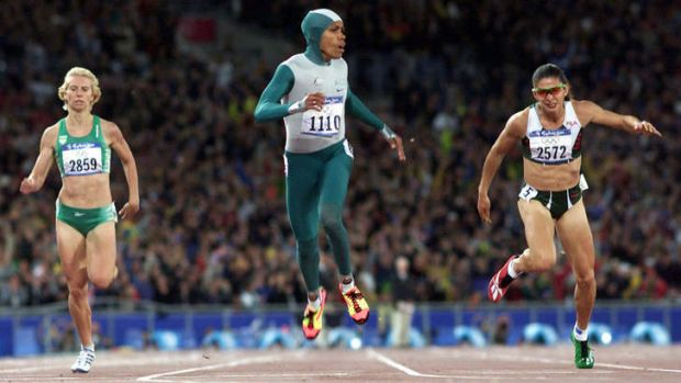 Cathy Freeman wins the 400m at the 2000 Sydney Olympic Games.