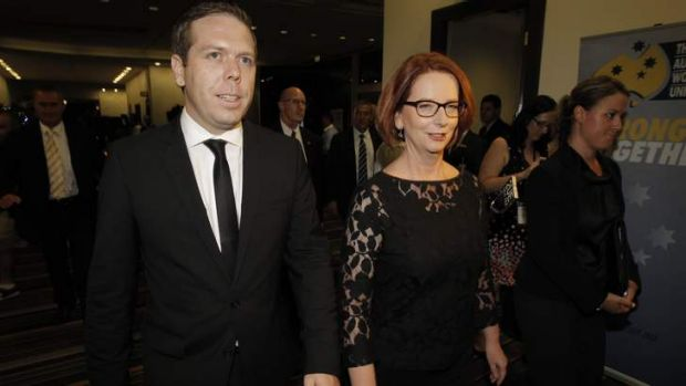 Prime Minister Julia Gillard and AWU boss Paul Howes. Mr Howes has made it clear he has the Prime Minister's back.