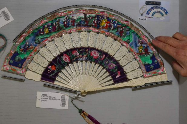 Early 19th century Chinese carved ivory, painted hand fans.