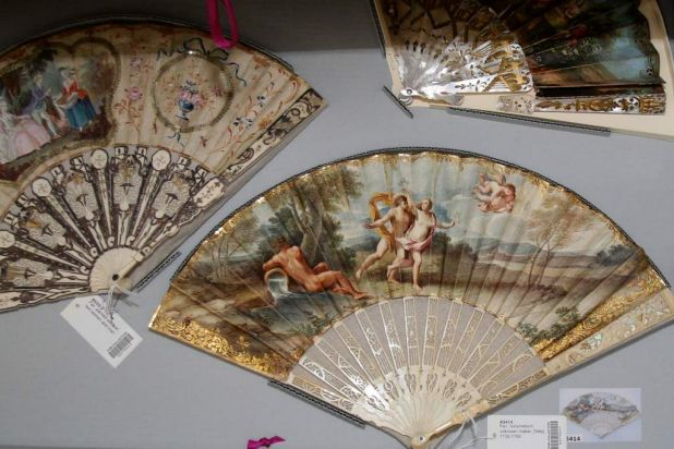 18th century European hand fans. Left: painted silk leaf; Right: ivory/vellum, Italian, 1730-1760.