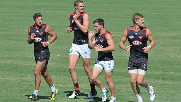 Governance review … Essendon players in training.