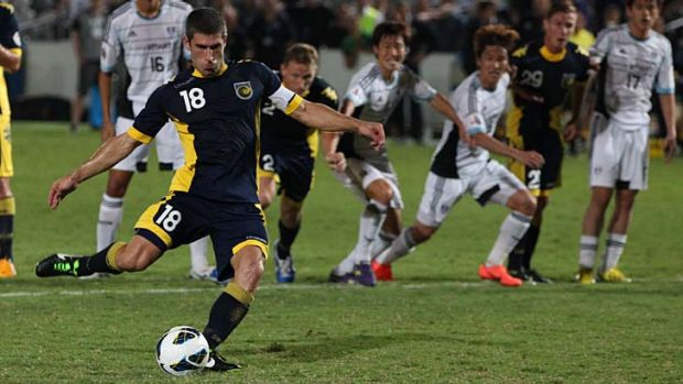 Missed opportunity ... Central Coast's Nick Montgomery misses a penalty in the final stages of the AFC Champions League ...