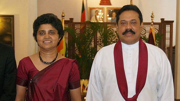 Falling out ... President Mahinda Rajapakse  with Shirani Bandaranayake in May 2011, soon after she was appointed as Sri ...