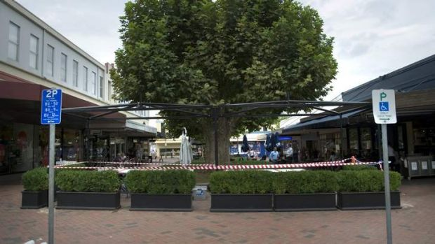 The covered area, built by Urban Pantry, has now been taken down.
