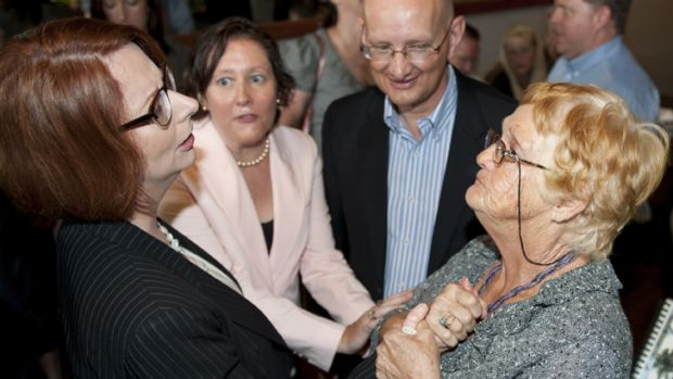 Prime Minister Julia Gillard with Veronica Voigt of Laidley, which has been affected by recent flooding.