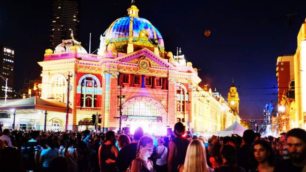 Crowds in front of the main music stage on the steps of Flinders Station led to congestion during the first White Night ...