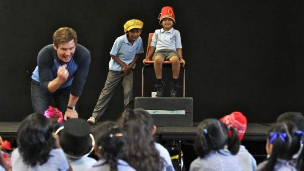As they like it … (clockwise, from above) Paul Reichstein, of Bell Shakespeare, with Westmead Public students.