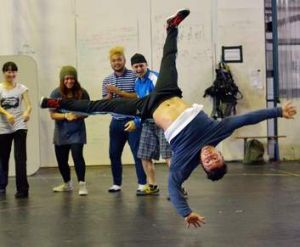 Swiss breakdancer Coskun Erdogandan, better known as Tuffkid, teaches at the Phunktional dance masterclass at Circus Oz.