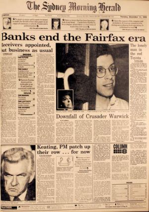 The front page of Tuesday 11th December 1990 detailing the appointment of receivers to Fairfax and the downfall of ...