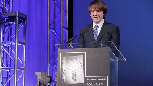 Jack Andraka receives <em>Smithsonian</em> magazine's American Ingenuity Award for youth achievement in November 2012.