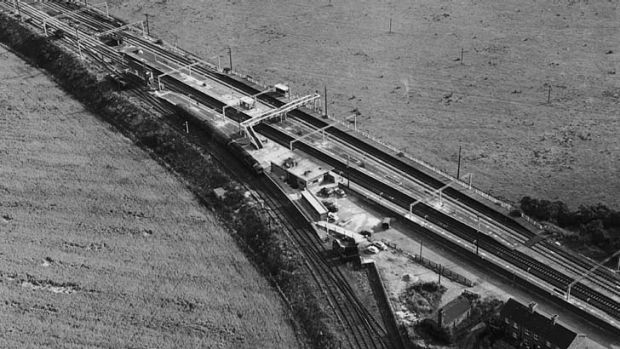An aerial view of the Glasgow to London train near Bridego Bridge.