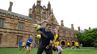 Members of the Sydney University Quidditch Society during a match between Ravenclaw and Hufflepuff in the main ...