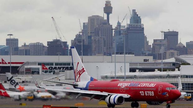 A Virgin plane at Sydney Airport.