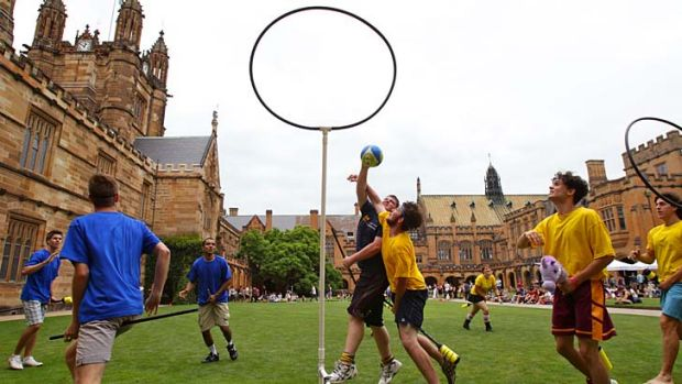 Broom to manoeuvre … Ravenclaw and Hufflepuff battle it out as the Sydney University Quidditch Society breaks out ...