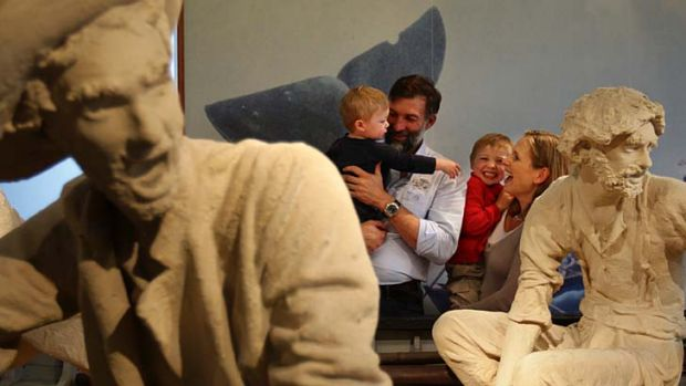 Reunited … Tim Jarvis, his wife Liz and their sons Jack and Will at the Australian National Maritime Museum in ...