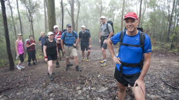 Peter Anderson during a training session at Mount Coot-tha as he and others prepare for the Youngcare Simpson Desert ...