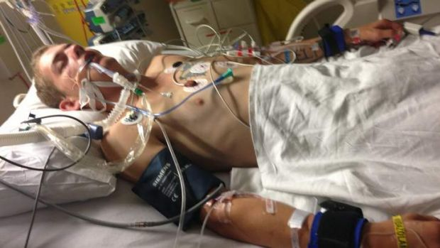 Sleep it off: Blayne Cameron in intensive care after paramedics allegedly told his friends to just put him to bed.