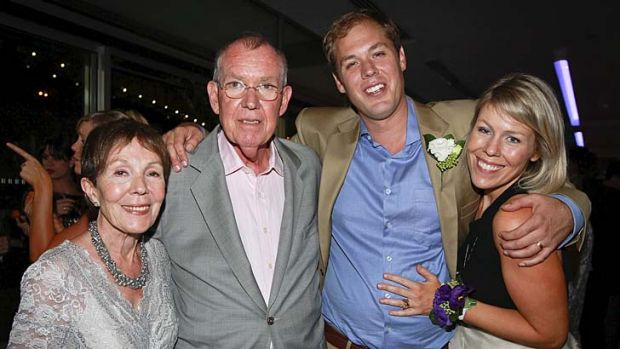 Media giant: Peter Harvey, relished stories cadets would spurn, pictured with wife Anne and children Adam and Claire.