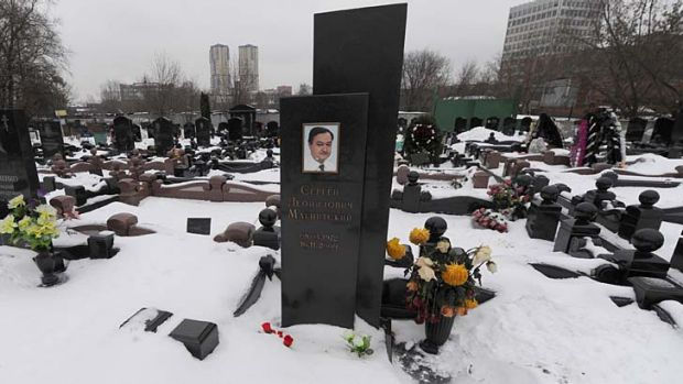 """""""My heart still refuses to accept it"""": Sergei Magnitsky's grave in Moscow."""
