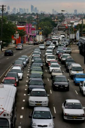Peak hour traffic along Paramatta Road. The Prime Minister and Opposition Leader have pledged funds for WestConnex as ...