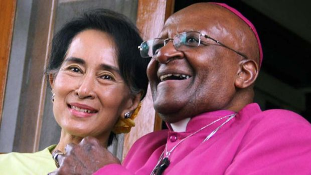 Archbishop Desmond Tutu with fellow Nobel Peace Prize recipient Aung San Suu Kyi in Rangoon last month.