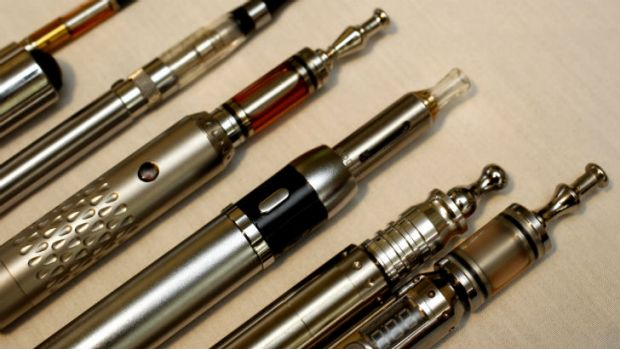 Daniel Lucas' collection of e-cigarette devices also known as personal vapourisers.