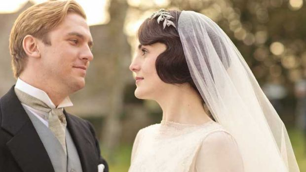 Happier days ... Matthew Crawley (Dan Stevens) and Lady Mary (Michelle Dockery) in <i>Downton Abbey</i>.