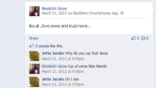 An exchange between Jette and Jesse on Facebook.