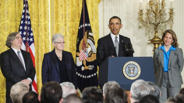 Nominees Ernest Moniz, left, Gina McCarthy, second from left, and Sylvia Mathews Burwell, right, listen as US President ...