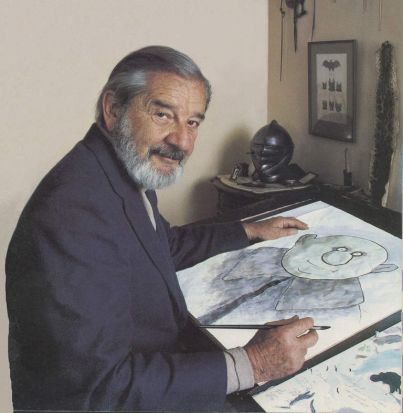 Charles Addams at his  sketchboard.